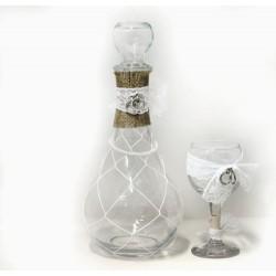 Καράφα με ποτήρι και ασημί στέφανα